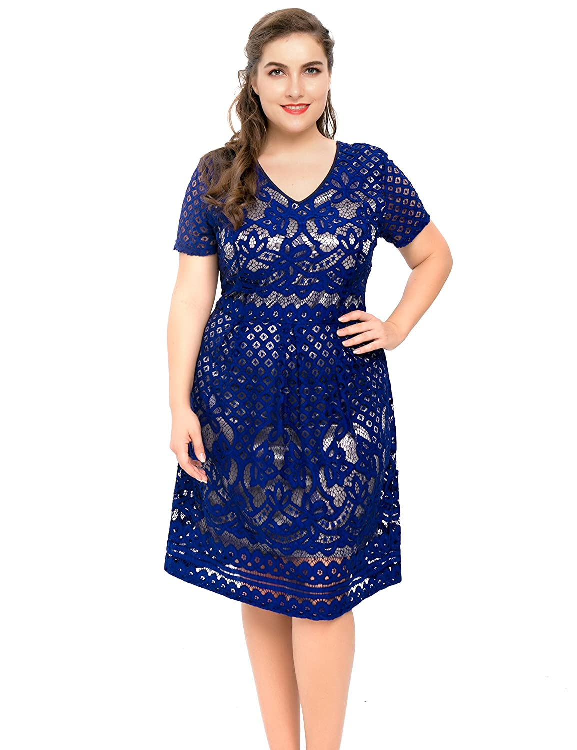 67351995a3 Chicwe Women s Plus Size Lined Floral Lace Skater Dress - Knee Length  Casual Party Cocktail Dress at Amazon Women s Clothing store