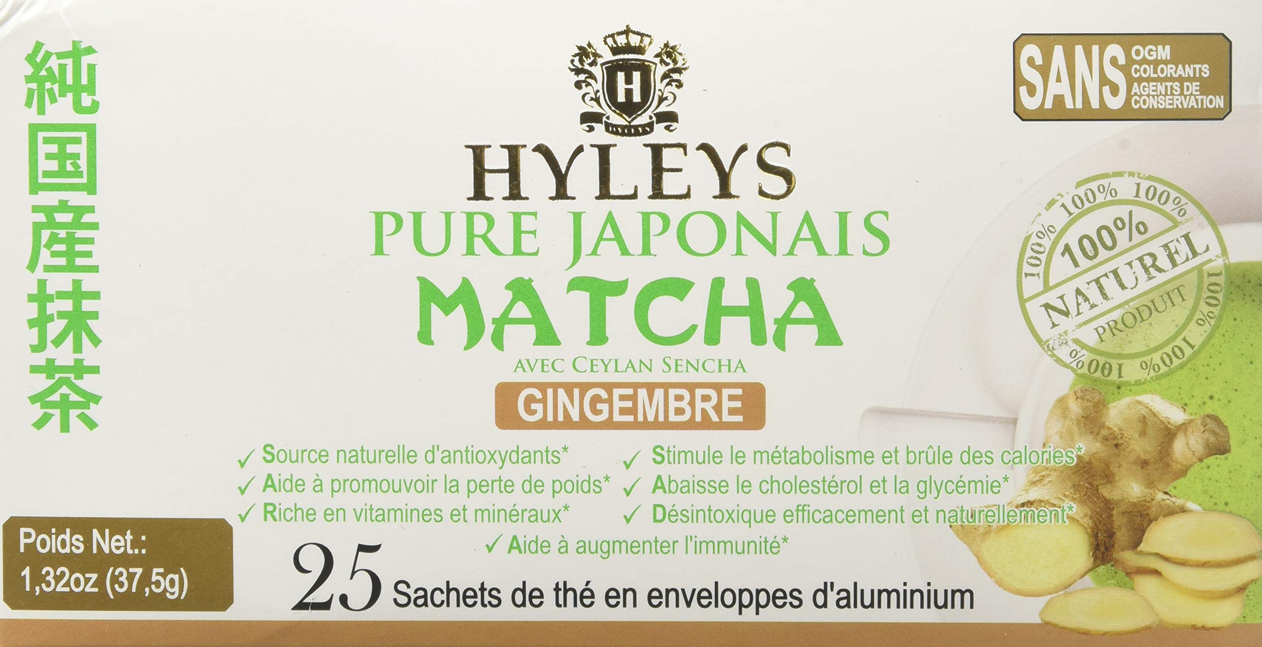 HYLEYS Tea Japanese Pure Matcha Tea Collection, Ginger, 25 Count (Pack Of 12)