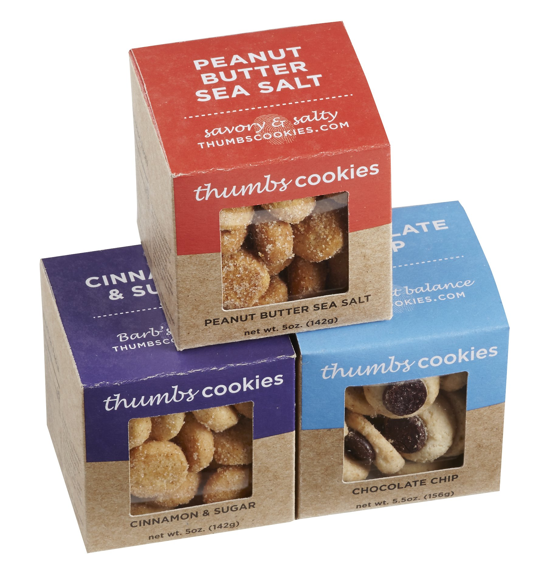 Thumbs Cookies Variety Pack of Fresh Baked Cookies in 3 Boxes - Chocolate Chip Cookies, Cinnamon Sugar Cookies, and Peanut Butter Sea Salt Cookies - 1 lb. Cookie Gift Box by Thumbs Cookies