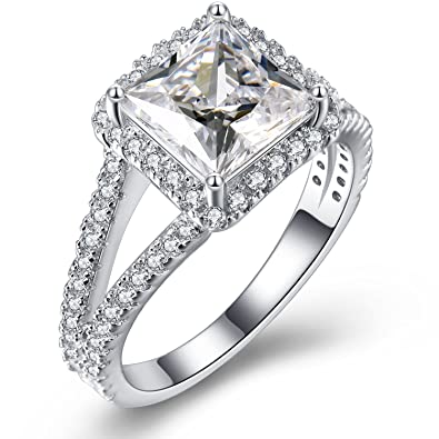 07dfa4995 Vibrille Sterling Silver Split Shank Princess-Cut Diamond CZ Cubic Zirconia  Halo Engagement Ring for