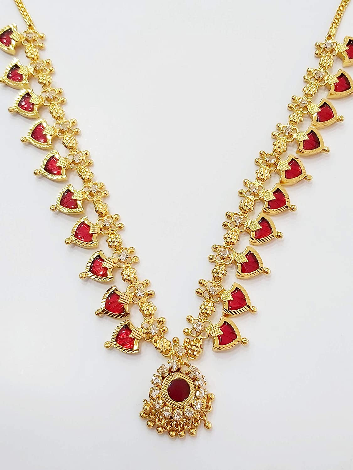 Buy Kerala Traditional 1 Gram PALAKKA Necklace with Maroon Enamel at  Amazon.in