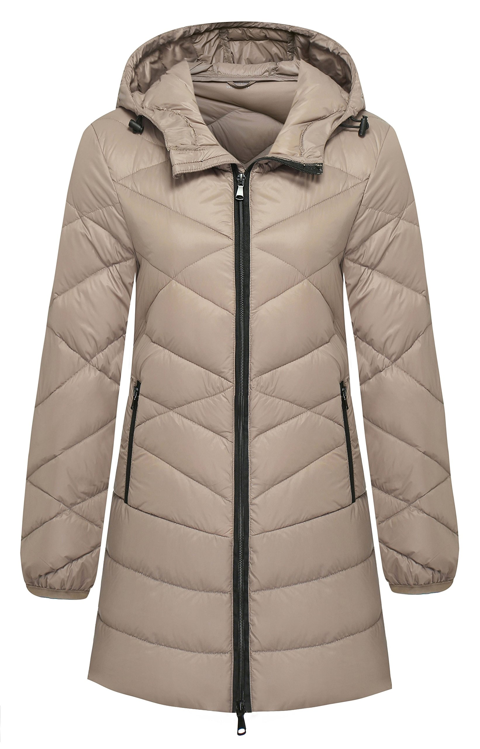 Wantdo Women's Hooded Packable Ultra Light Weight Down Jacket, Khaki, Large