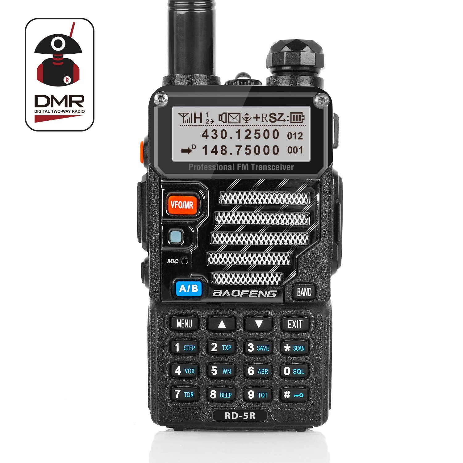 Radioddity x Baofeng RD-5R DMR Ham Amateur Two Way Radio, 136-174/400-470MHz Dual Band Dual Time Slot Walkie Talkie 1024 Channels Tier I & II Compatible with MOTOTRBO, Free Programming Cable