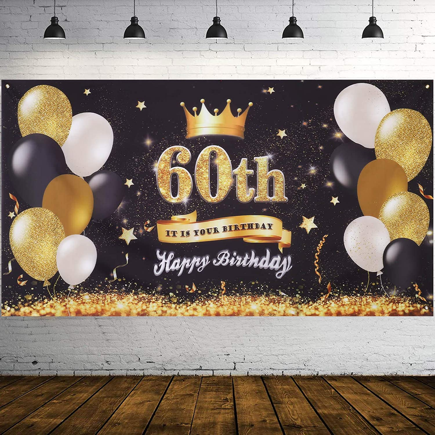 SUSSURRO Happy 60th Birthday Backdrop Banner Cheers to 60 Years Background Banners 71 x 39 Extra Large Backdrops Balloons Black Gold Party Decorations Supplies for Indoor Outdoor Photo Booth Props