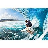 Papel pintado fotográfico que muestra un surfer en una ola – imagen mural de un surfer