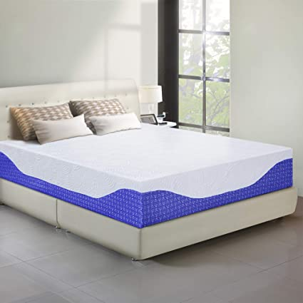 cheap for discount 96dcc 25a6b PrimaSleep 12 Inch Multi-Layered I-Gel Infused Memory Foam Mattress,  California King, Cobalt Blue