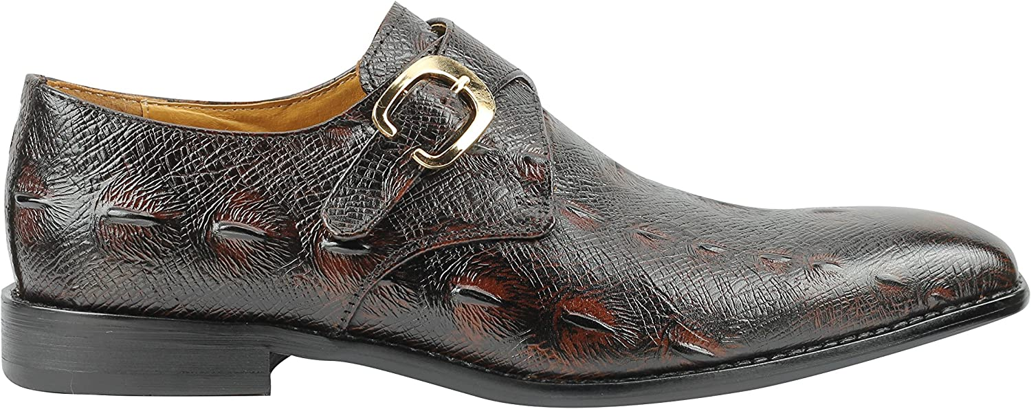 Xposed Mens Real Leather Snakeskin Print Vintage Monk Strap Formal Loafer Dress Shoes in Brown