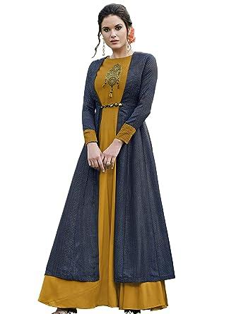 19adb50e26c Amazon.com  Stylee Lifestyle Mustard Yellow Tussar Silk Printed Gown   Clothing