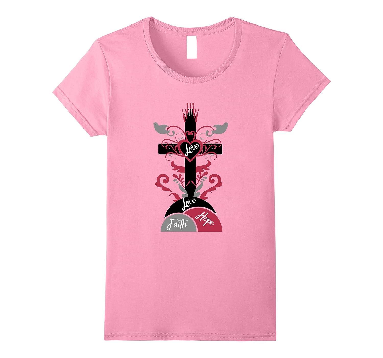 Womens Faith, Love and Hope Women's Summer casual Christian Tee-Art