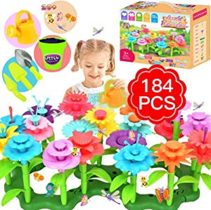 Flower Garden Building Toys, Girls Toys Age 3-6 Year Old Toddlers Toys for Christmas Birthday Gifts, Stem Toys Gardening Pretend Gift for Kids Playset, Stacking Game Educational Activity Play(184 PCS)