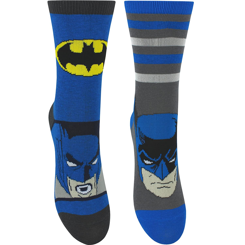 Boy's Duo DC Comics Batman Socks (2 Pair Pack) Blue Mix)