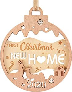 Creawoo Our First Christmas in New Home Wooden Ornament 2020, Housewarming Keepsake Gift for New House Xmas Tree Decoration, with The Hollow Design of Christmas Trees, Elks and The Cute Home
