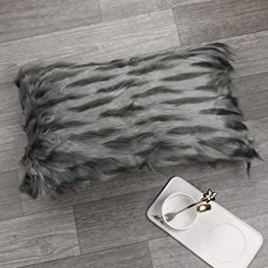 Sungea Mongolian Faux Fur Throw Pillow Cover, Luxury Series Soft Pillow Case Decorative Plush Cushion Case, 12x20 for Girls Sofa Couch Living Room Bedroom (Fox Black)