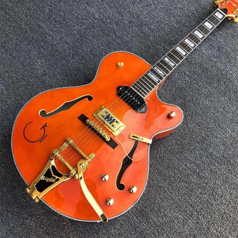 Florwesr Guitarra Eléctrica del Jazz WithGolden Hardware Naranja Semi Hueco De La Guitarra del Cuerpo De Jazz (Size : 40 Inches)
