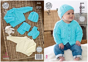 00b87e0aa Amazon.com  King Cole Baby Aran Knitting Pattern Raglan Sleeve ...
