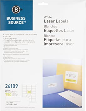 Amazon.com : Business Source 26109 Mailing Labels, Laser, 1 ...