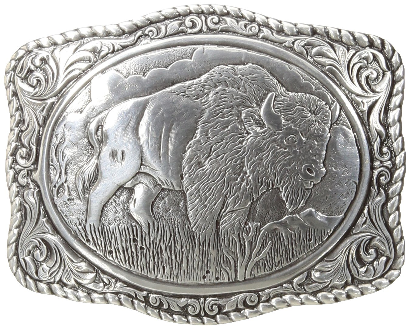 Nocona Men's Crumrine Bison Scaloped Buckle, Silver, One Size