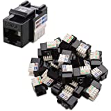 [UL Listed] Cable Matters 25-Pack Cat6 RJ45 Keystone Jack (Cat 6 / Cat6 Keystone Jack) in Black with Keystone Punch-Down Stand