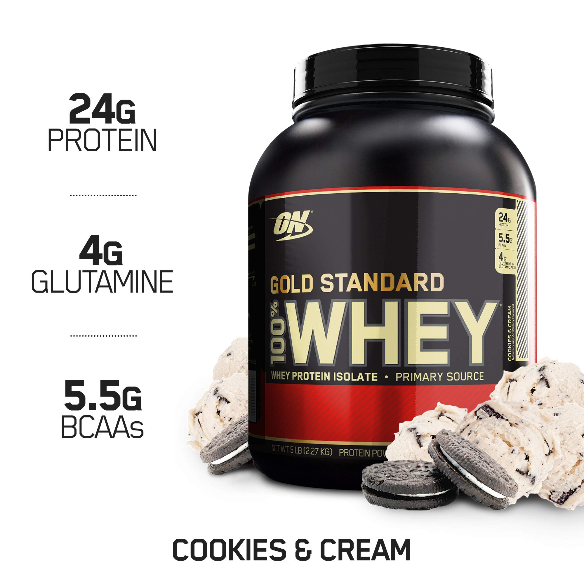 OPTIMUM NUTRITION GOLD STANDARD 100% Whey Protein Powder, Cookies and Cream, 4.63 Pound (Package May Vary) by Optimum Nutrition