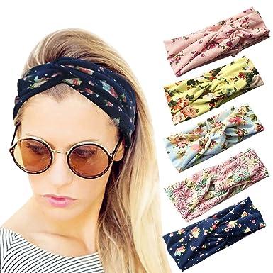 loritta 5 pcs women s headbands elastic boho printed turban