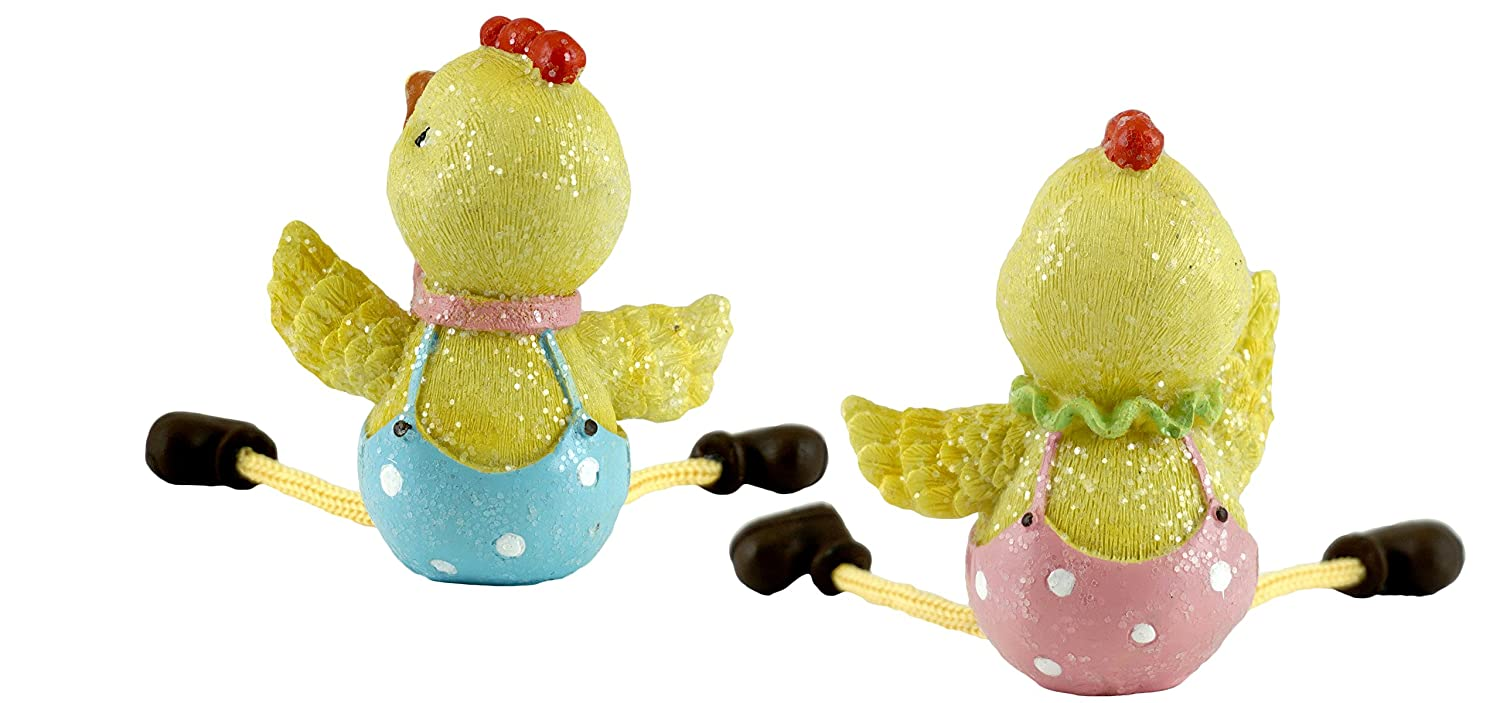 Gerson Easter Chick Couple Glitter Shelf Sitter Figurines Set of 2