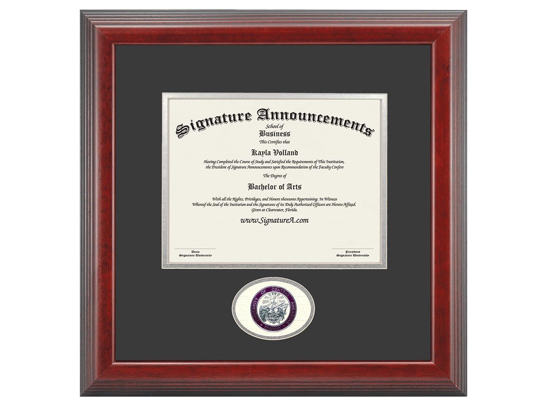Signature Announcements University-of-Central-Arkansas Undergraduate Professional//Doctor Sculpted Foil Seal Graduation Diploma Frame 16 x 16 Cherry