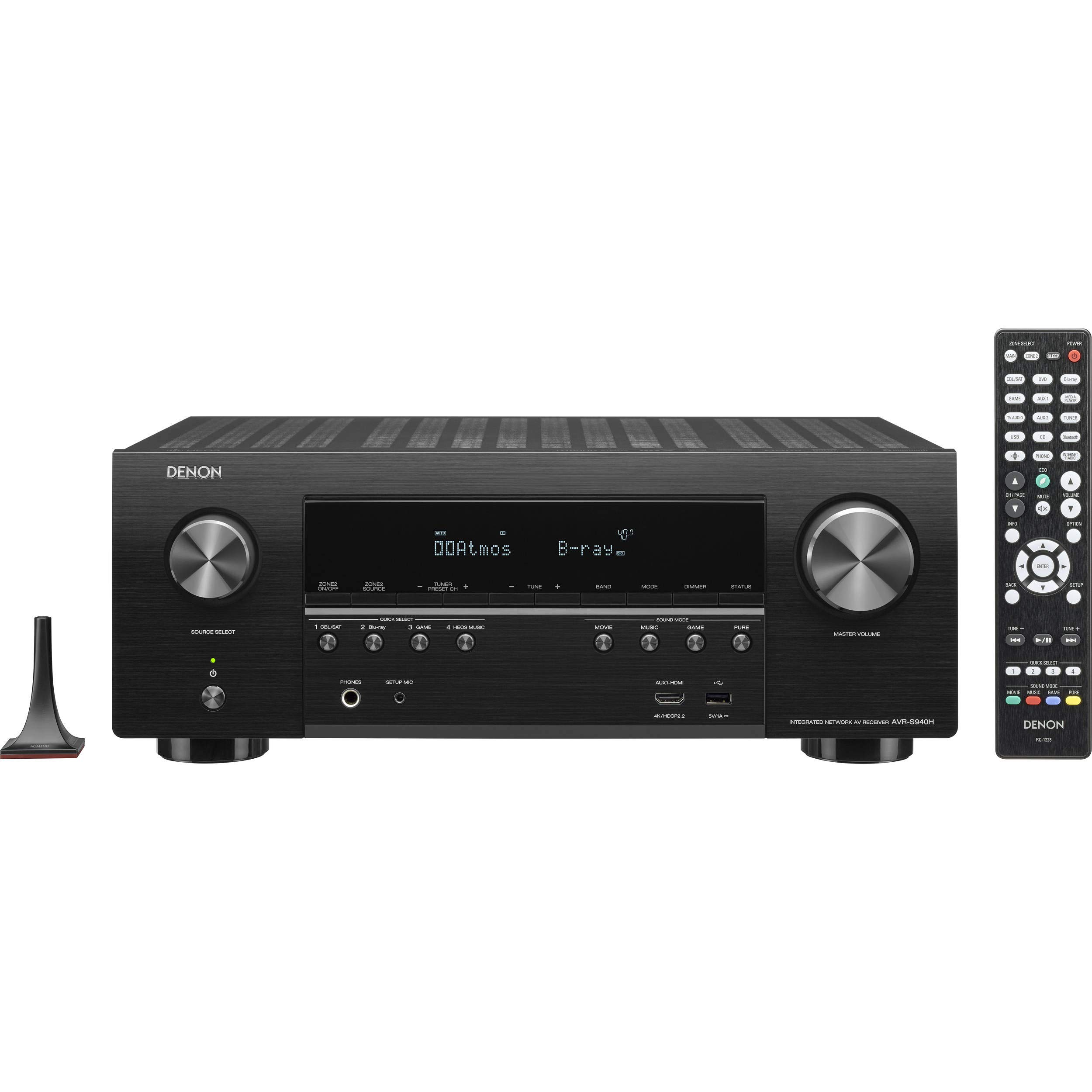 Denon AVR-S940H 7.2 Channel 90W x 7 ch AV Receiver with HEOS (Renewed) by Denon