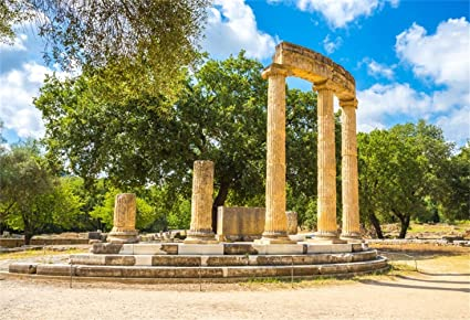 Olympics Relics Backdrop 8x6ft Polyester Photography Background Greece Cultural Relics Weathered Stone Pillars Road Tourism Resort Parkland Ancient Architecture Historical Building Sightseeing