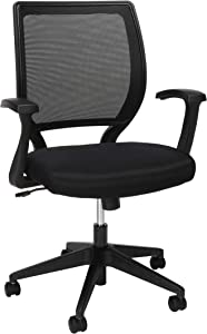 HON Mesh Mid-Back Task Chair, Stationary Arms, in Black