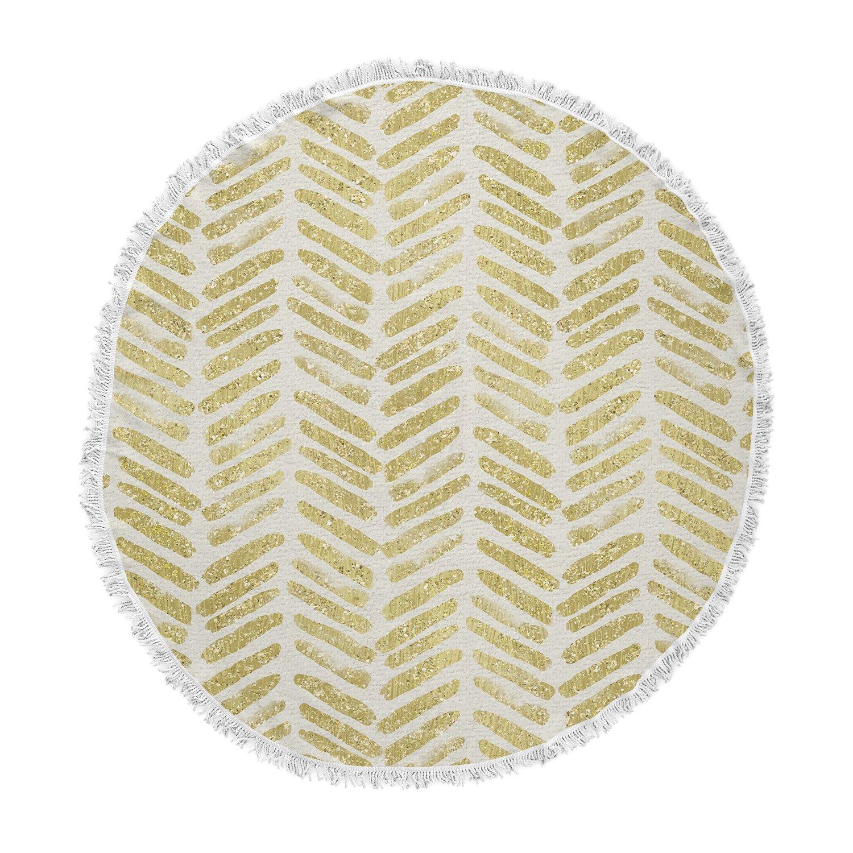 Kess InHouse 888 Design Golden Vision Yellow White Round Beach Towel Blanket