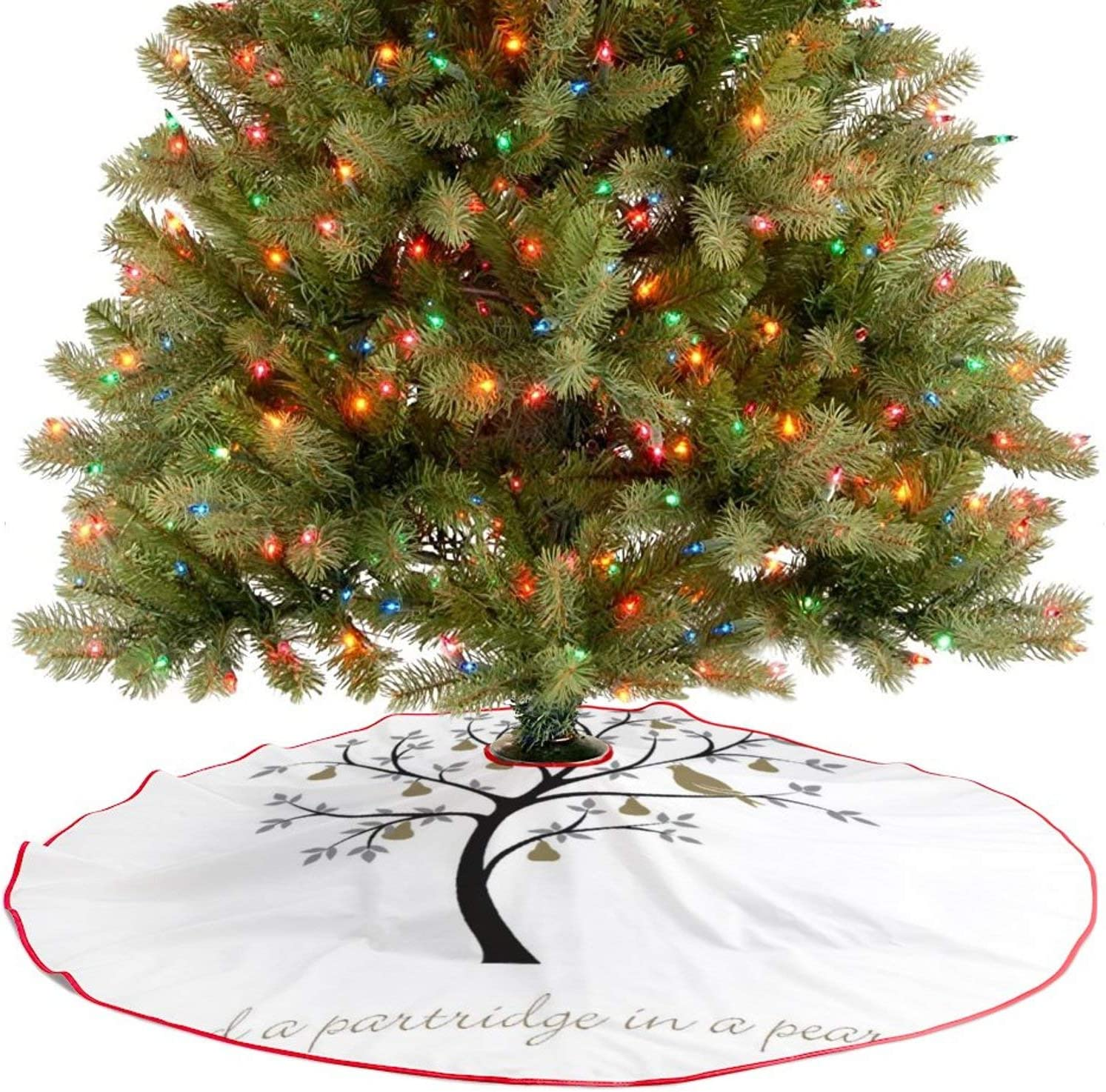 Amidaky and A Partridge in A Pear Tree Christmas Tree Skirt for Christmas Decorations Indoor Outdoor 36''×36''