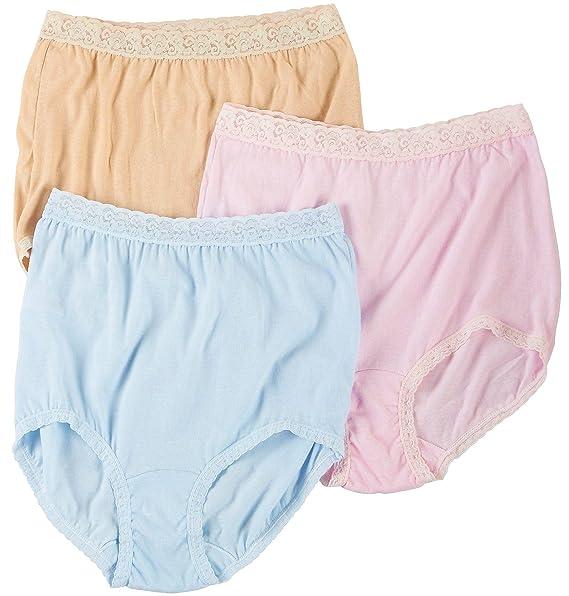 4c39a294ab6 Carole 3-pk. Lace Trim Cotton Briefs 574 at Amazon Women s Clothing store