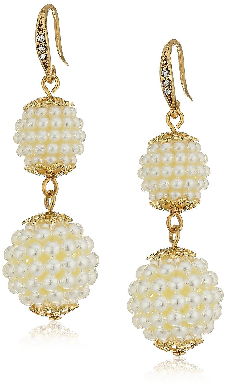Carolee Pearl Ball Drop Gold Earrings