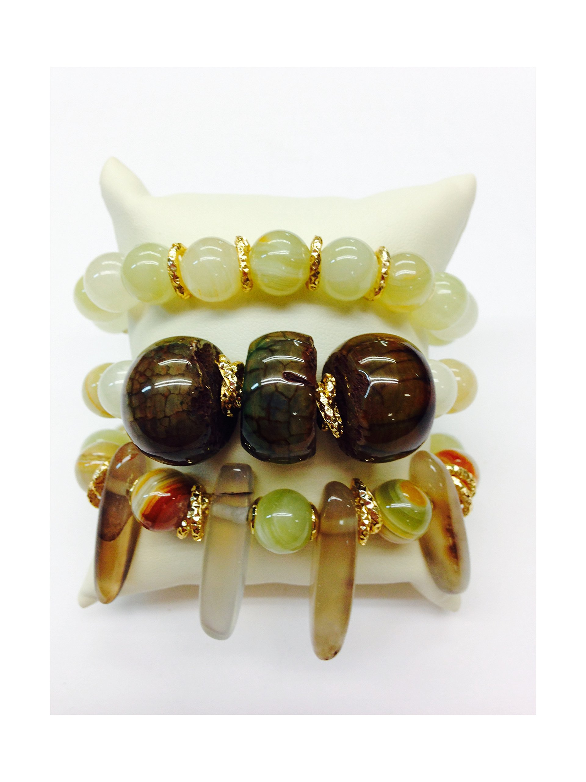 Set of 3 Handmade Bracelets - Jade, Exotic Rare Agate and Tusk Shaped Quartz Natural Stones & Goldfilled Beads by Formula Moda