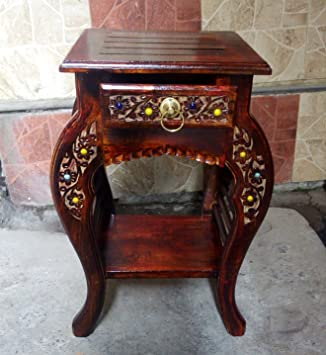 Nisar Handicrafts Wooden Hand Carved Living Room Side Table, Stool Antique  Look
