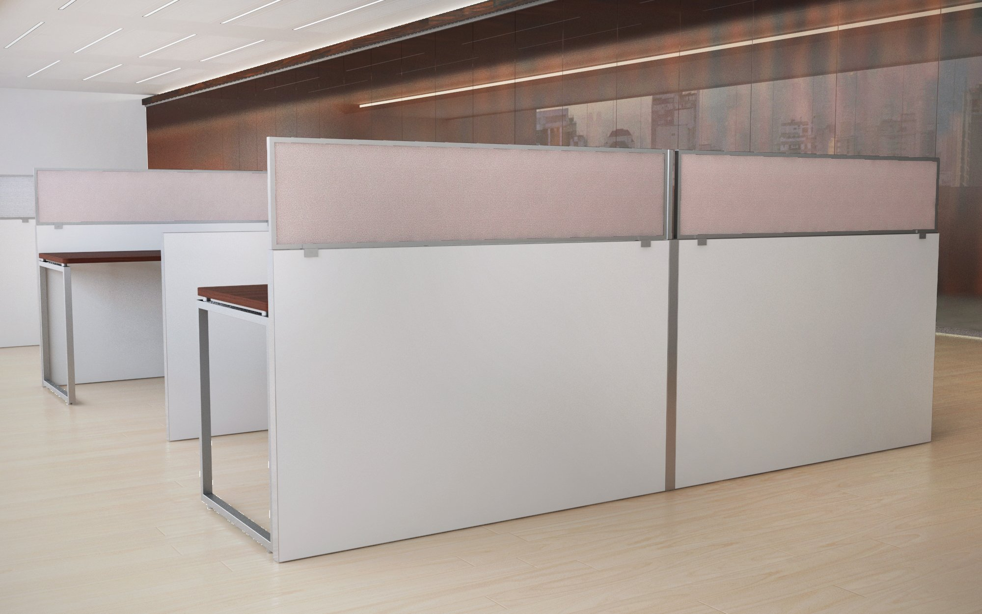 18'' Acoustical Cubicle Mounted Privacy Panel with Large Brackets by OBEX