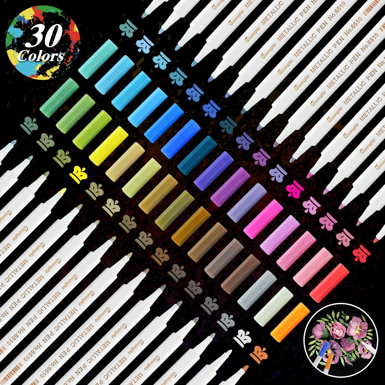 Rotuladores Metálicos,YITHINC 30 Marcadores Metálicos de Colores Brillantes para álbumes de Recortes,Fabricación de Tarjetas de Regalo,Pintura Rupestre,Papel Negro,Tela,Metal,Cerámica