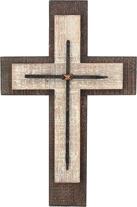 Amazon Com Decorative Worn White And Brown Wooden Hanging Wall Cross Rustic Cross For Wall Of Crosses Religious Home Decor Gift Idea For Birthdays Easter Christmas Weddings Or Any Occasion Sb 6002a Home