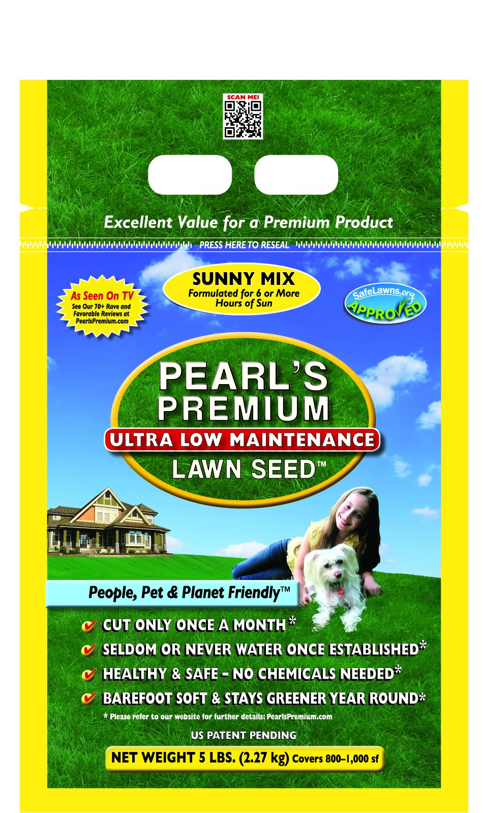 Pearl's Premium Ultra Low Maintenance Lawn Seed, 5-Pound, Sunny Blend