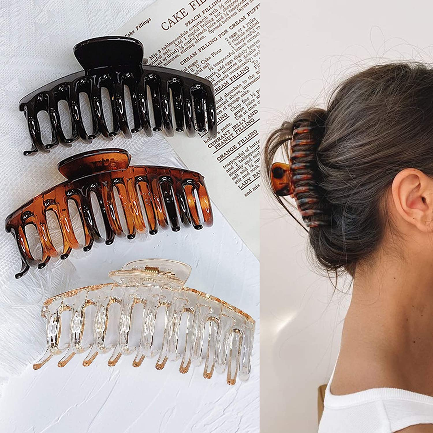 Claw Clip 1PC OR 7PCS SET Large Plastic Hair Claw 5cm AcrylicResin Girls Hairpins Crab Claws Jaw Clamp Hair Jewellery for Women .
