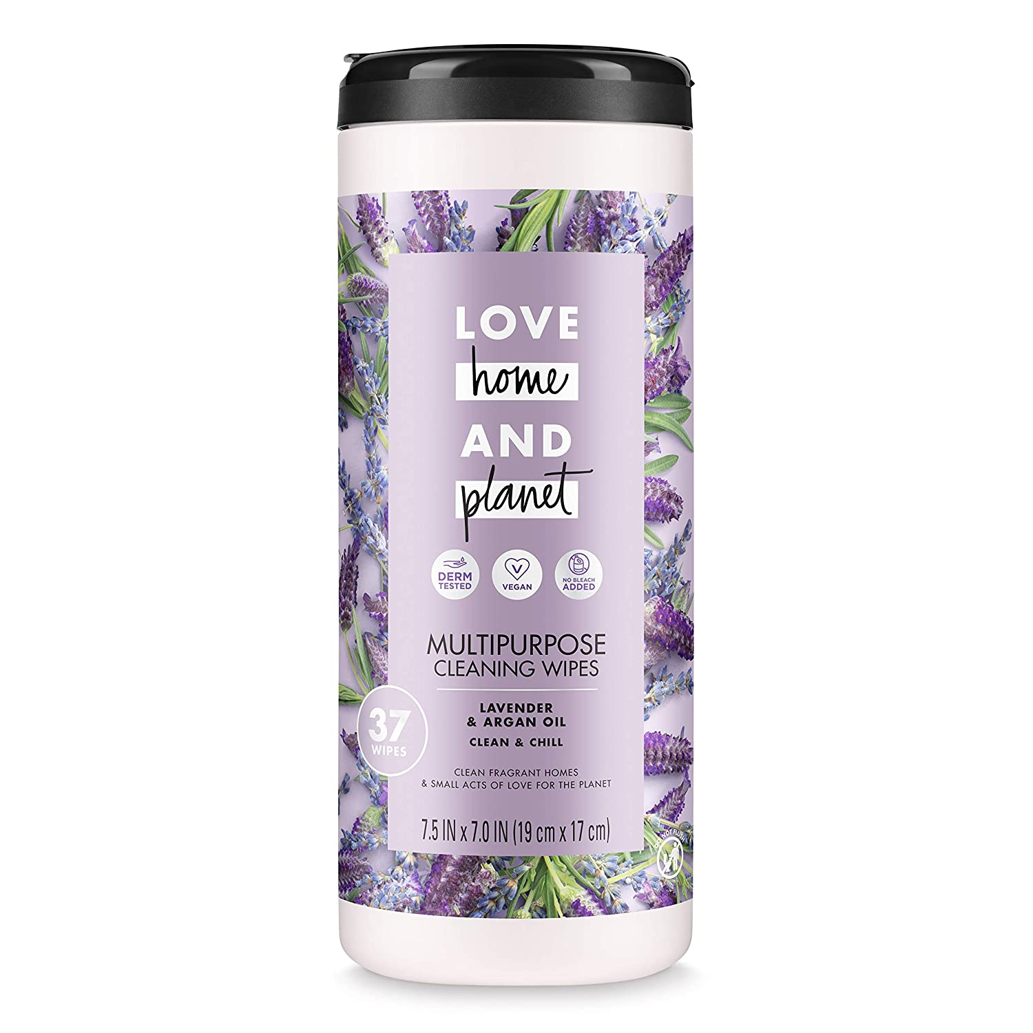 Love Home and Planet Multi-Purpose Cleaning Wipes, Lavender & Argan Oil, 37 count