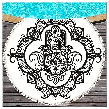 Blanco y Negro Hamsa Mano Toalla redondos con borlas Buda Lotus Mandala playa redondas techo böhmische