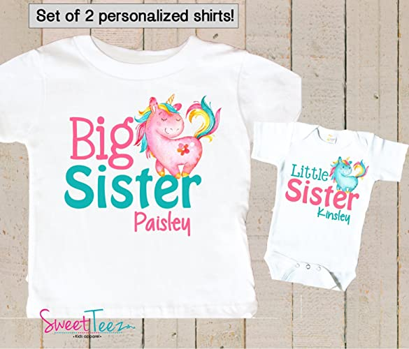 82bcdb538 Amazon.com: Big Sister Little Sister Shirt Personalized Unicorn Shirt Girl  Set of 2 Shirts unicorn Gift Set: Handmade
