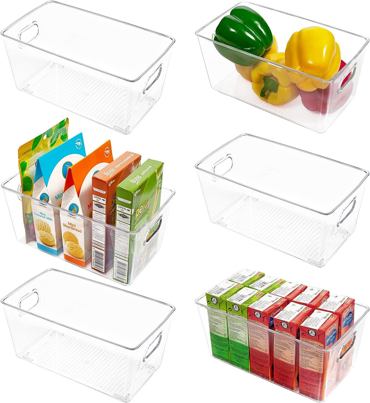 Vtopmart Clear Plastic Pantry Organizer Bins, 6 PCS Food Storage Bins with Handle for Refrigerator, Fridge, Cabinet, Kitchen, Countertops, Cupboard, Freezer Organization and Storage, BPA Free
