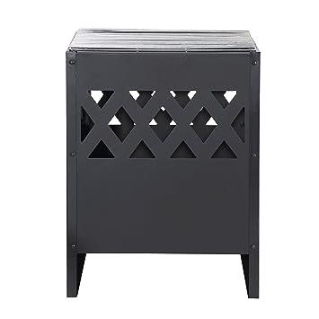 Harima Perun Moderno brasero con barbacoa exterior de leña con parrilla y cubierta impermeable, acero, diseño de cesta rectangular - negro: Amazon.es: ...