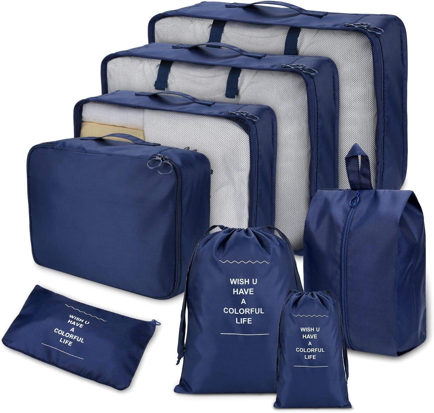 Joyoldelf 8 Set de Organizador de Equipaje, Impermeable Organizador de Maleta Bolsa para Ropa Sucia de Viaje,Cubos de Embalaje para Viaje(azul marino)