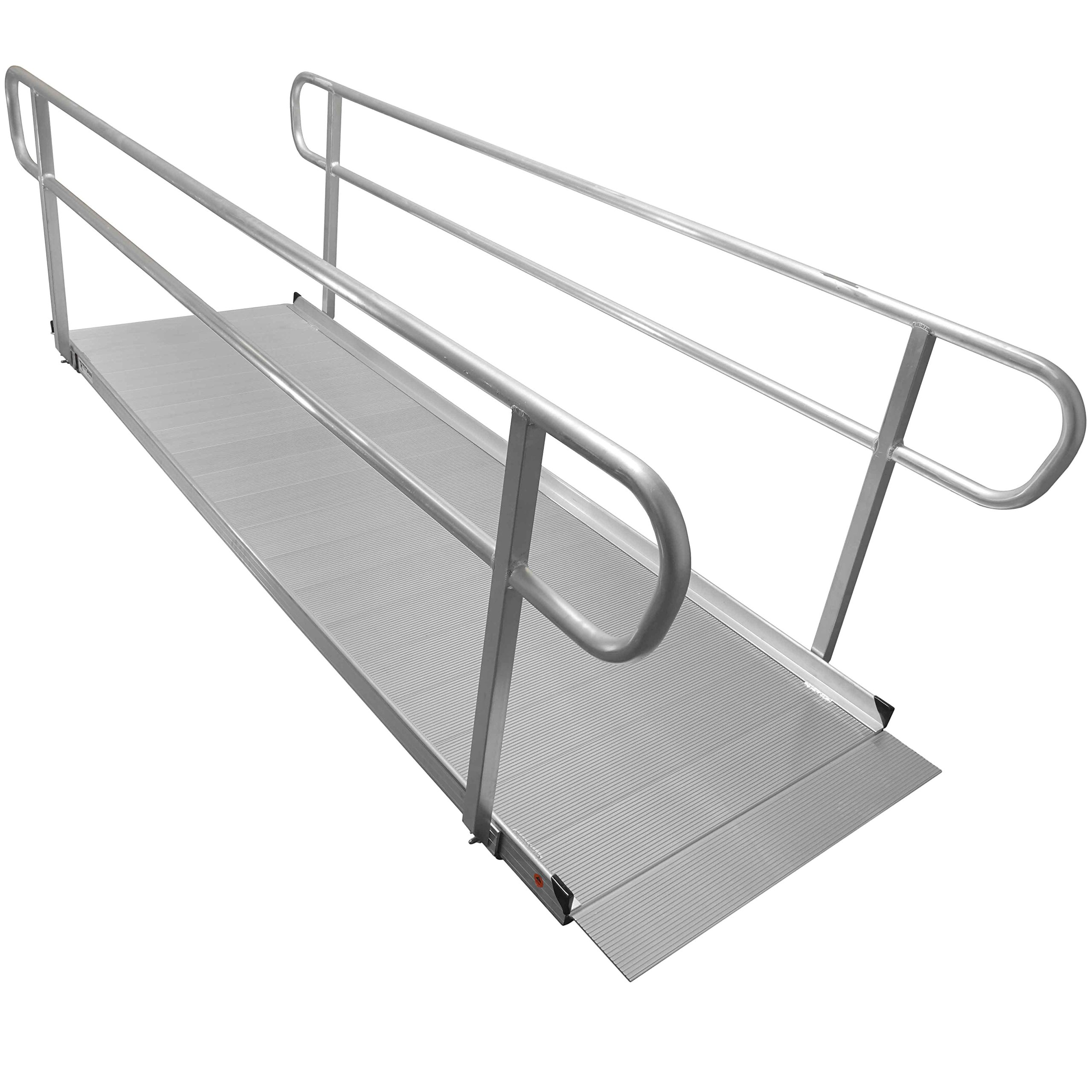 10′ Aluminum Wheelchair Entry Ramp & Handrails Solid Surface Scooter Mobility Access