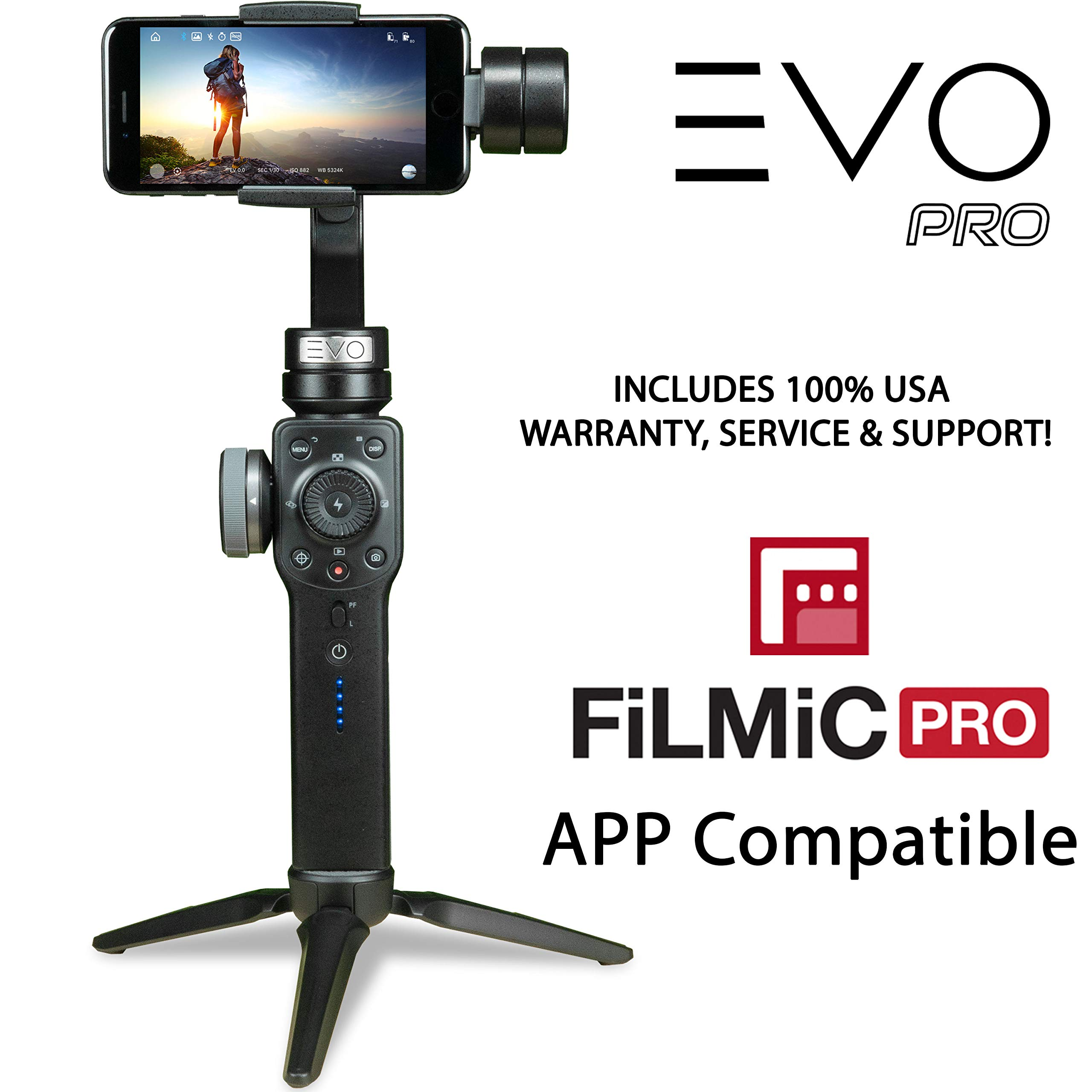 EVO PRO Smartphone Camera Stabilizer with Focus Pull & Zoom - Compatible with iOS iPhone & Android Smartphones | FiLMiC PRO APP Compatible | EVO Gimbals 1 Year US Warranty & Support