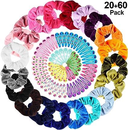 20 Colores Velvet Elástico Hair Scrunchies + 60 pcs Pinza de Pelo ...