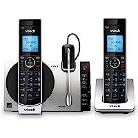 VTech DS6771-3 DECT 6.0, teléfono inalámbrico desplegable con conexión a Cell, Siri y Google Now Access, plateado/negro, 2 teléfonos inalámbricos y 1 audífono inalámbrico